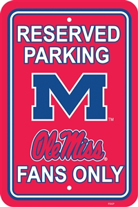 "Ole Miss Rebels 12"" x 18"" Plastic Parking Sign"