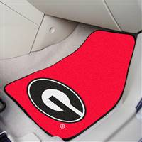 "Georgia Bulldogs 2-piece Carpeted Car Mats 18""x27"", Red"