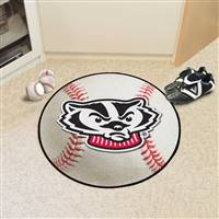 "Wisconsin Badgers Baseball Rug 29"" Diameter"