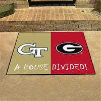 "Georgia Tech - Georgia Bulldogs House Divided Rug 34""x45"""
