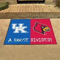 "Kentucky Wildcats - Louisville Cardinals House Divided Rug 34""x45"""