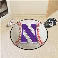 "Northwestern Wildcats Baseball Rug 29"" diameter"
