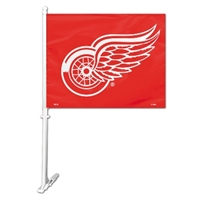 Detroit Red Wings Car Flag W/Wall Brackett
