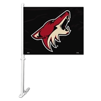 Phoenix Coyotes Car Flag W/Wall Brackett
