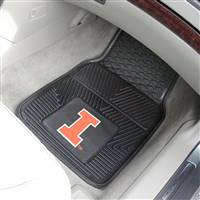 "Illinois Fighting Illini Heavy Duty 2-Piece Vinyl Car Mats 18""x27"""