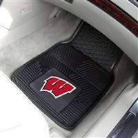 "Wisconsin Badgers Heavy Duty 2-Piece Vinyl Car Mats 18""x27"""