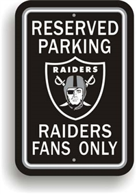 Oakland Raiders Plastic Parking Sign - Reserved Parking