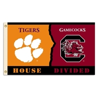 Clemson - S. Carolina 3 Ft. X 5 Ft. Flag W/Grommets - Rivalry House Divided