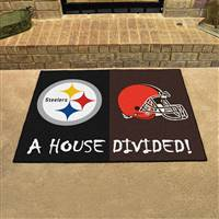 "Pittsburgh Steelers - Cleveland Browns House Divided Rug 34""x45"""
