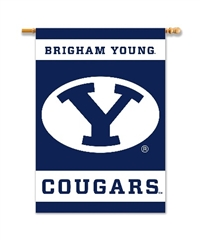 "Brigham Young Cougars 2-Sided 28"" X 40"" Banner W/ Pole Sleeve"