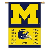 "Michigan Wolverines Champ Years 2-Sided 28"" X 40"" Banner W/ Pole Sleeve"