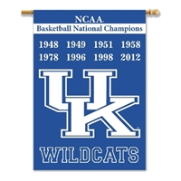 "Kentucky Wildcats Champ Years 2-Sided 28"" X 40"" Banner W/ Pole Sleeve"