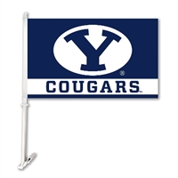 Brigham Young Cougars Car Flag W/Wall Brackett