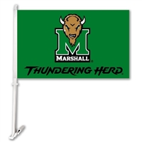 Marshall Thundering Herd Car Flag W/Wall Brackett