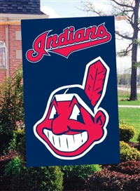 "Cleveland Indians MLB Oversized 44"" x 28"" Applique Banner Flag"