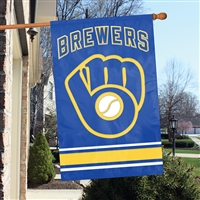 "Milwaukee Brewers MLB Oversized 44"" x 28"" Applique Banner Flag"