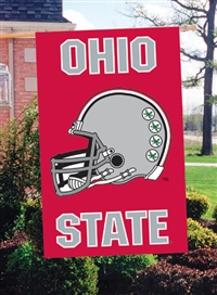 "Ohio State Buckeyes Helmet Design Oversized 44"" x 28"" Applique Banner Flag"