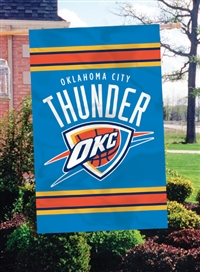 "Okhlahoma City Thunder NBA Oversized 44"" x 28"" Applique Banner Flag"