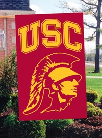 "USC Trojans Trojan Head Design Oversized 44"" x 28"" Applique Banner Flag"