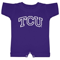 Texas Christian Horned Frogs NCAA Arch Logo Outline Purple Infant T-Romper (6M)