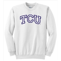 Texas Christian Horned Frogs NCAA Outline Logo White Crewneck Sweatshirt (Large)