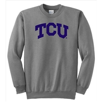 Texas Christian Horned Frogs NCAA Arch Solid Logo Grey Crewneck Sweatshirt (Medium)