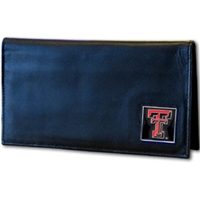 Deluxe College Leather Checkbook - Texas Tech Raiders