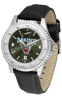 Maine Black Bears Competitor AnoChrome Watch, Poly/Leather Band