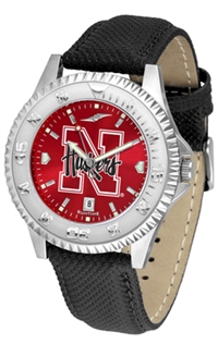 Nebraska Cornhuskers Competitor AnoChrome Watch, Poly/Leather Band