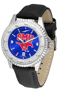 Southern Methodist Mustangs Competitor AnoChrome Watch, Poly/Leather Band
