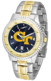Georgia Tech Yellow Jackets Competitor Anochrome Dial Two Tone Band Watch