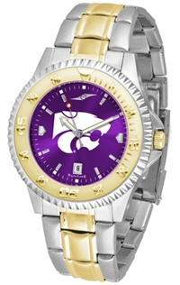 Kansas State Wildcats Competitor Anochrome Dial Two Tone Band Watch