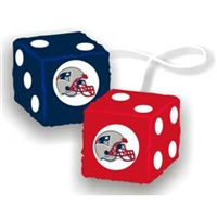 New England Patriots NFL 3 Car Fuzzy Dice""