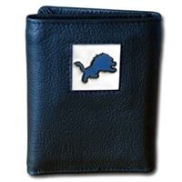 NFL Leather and Nylon Trifold Wallet - Detroit Lions