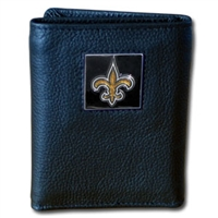 NFL Leather and Nylon Trifold Wallet - New Orleans Saints
