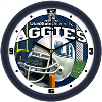 "Utah State Aggies 12"" Football Helmet Wall Clock"