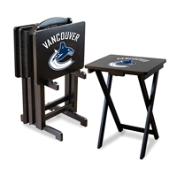 Vancouver Canucks NHL TV Tray Set with Rack