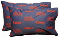 Ole Miss Rebels Printed Pillow Case - King - (Set of 2) - Solid