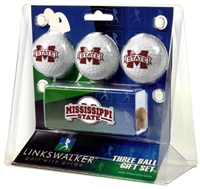 Mississippi State Bulldogs Slider Hat Clip 3 Ball Gift Pack