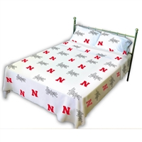 Nebraska (NU) Cornhuskers Printed Sheet Set (Queen, White Color)