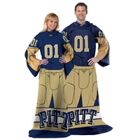 Pittsburgh Panthers NCAA Adult Uniform Comfy Throw Blanket w/ Sleeves
