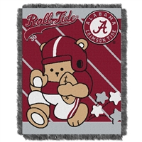 Alabama Crimson Tide NCAA Triple Woven Jacquard Throw (Fullback Baby Series) (36x48)