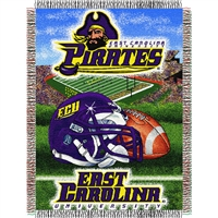 "East Carolina Pirates NCAA Woven Tapestry Throw (Home Field Advantage) (48x60"")"""