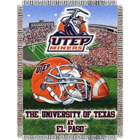 "UTEP Miners NCAA Woven Tapestry Throw (Home Field Advantage) (48x60"")"""