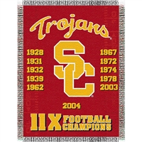 "USC Trojans NCAA National Championship Commemorative Woven Tapestry Throw (48x60"")"""