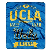 UCLA Bruins NCAA Royal Plush Raschel Blanket (Label Series) (50x60)