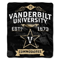 Vanderbilt Commodores NCAA Royal Plush Raschel Blanket (Label Series) (50x60)