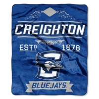 Creighton Bluejays NCAA Royal Plush Raschel Blanket (Label Series) (50x60)