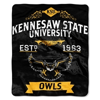 Kennesaw State Owls NCAA Royal Plush Raschel Blanket (Label Series) (50x60)