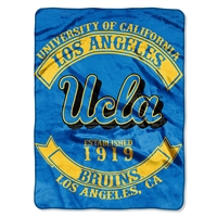 UCLA Bruins NCAA Royal Plush Raschel Blanket (Rebel Series) (60x80)